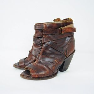 Freebird Joker Peep Toe Leather Booties Distressed